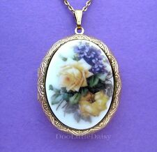 Porcelain YELLOW ROSES & VIOLETS CAMEO Locket Pendant Necklace Valentine Gift