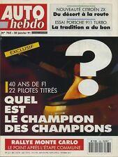 AUTO HEBDO n°763 du 30 Janvier 1991 MONTECARLO PORSCHE 911 TURBO