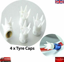 White Crown Alloy Car Wheel Tire Tyre Valve Dust Caps Covers Tire Set of 4 UK