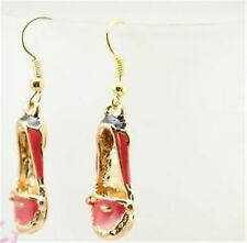 Lovely gold tone red shoe dangle charm earrings