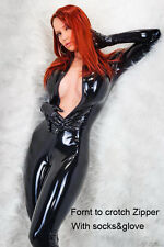 Women's Shiny PVC Latex Catsuit Zentai Fancy Dress With Gloves Front Zipper Plus