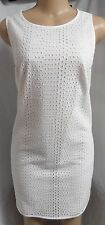 """ANN TAYLOR LOFT"" WHITE EYELET CASUAL COCKTAIL SUMMER SHIFT DRESS SIZE: M NWT"