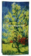 "Oblong 100% Pure Silk Art Scarf Wrap Handrolled w Van Gogh ""Peach Tree in Bloom"""