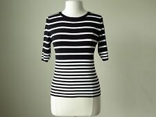 NWT White house black market short sleeve stripe sweater top L