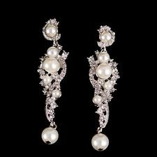 Vintage Bridal Earrings Chandelier Crystal Earrings Dangle Pearl Earrings New
