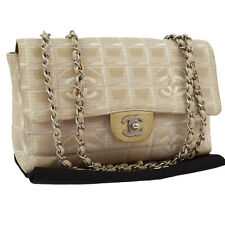 Auth CHANEL Travel Line Quilted Chain Shoulder Bag Jacquard Nylon VTG JT04945