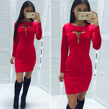 Womens Zip Cut Out V Neck Mini Dress Long Sleeve Bodycon Skirts Party Clubwear