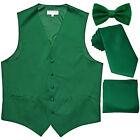 New Men's solid Tuxedo Vest Waistcoat & necktie & Bow tie & Hankie emerald green
