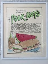 Vintage Merry Pierce Lowery Copyright 1985 New Orleans Poor-Boys Recipe Art