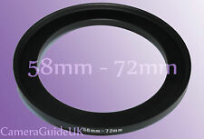 58mm to 72mm 58mm-72mm Stepping Step Up Filter Ring Adapter