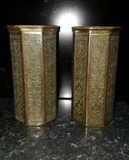 Pair of KINCO Art Deco Vases with Eastern Islamic  Design. Brass. 1920's signed