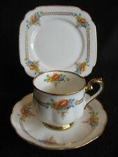 RARE ART DECO ROYAL ALBERT CROWN CHINA  #8182 CUP/SAUCER/PLATE TRIO c.1931 EX+