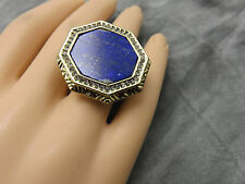 House of Harlow Vintage 60s Cocktail Ring Lapis Octagon Gold 7 Statement 85g