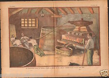 Wine press Pressoir vinicole Vendange Vin raisins France 1933 JOC ILLUSTRATION