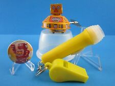 """SPACE ROBOT TIN WIND UP TOY"" CLUB COLLECTION...(WHISTLE, FLASHLIGHT, PIN-BACK)"