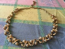 Vintage Signed Coro Choker Necklace  Faux Pearl Gold Tone