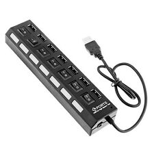 7-Port USB 2.0 Multi HUB Splitter Expansion Adapter With ON/OFF Switch For PC