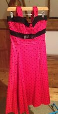 Red Polka Dot Collectif Stella Doll Dress/Black Spot/Size 12/Retro/Rockabilly