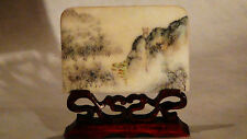 ANTIQUE CHINESE FAMILLE ROSE PORCELAIN  PAINTED PLAQUE ON  CARVED ROSEWOOD STAND