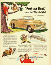 1947 vintage auto ad, 'FORD is out Front' says the Wise Old Owl, NICE!- 072813