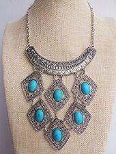 Plata turquesa triángulo Boho Bohemio En capas Collar Estilo Vintage Indio