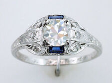 Art Deco GIA Certified 1.09ct Diamond Sapphire Vintage Antique Engagement Ring