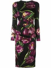 Dolce & Gabbana Long-Sleeve Tulip-Print Ruched Dress,Orig $2745 Size - 50IT/16US