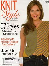 Knit n Style August 2008 Ripple Baby Afghan Shawl Sweater Vest Knitting Patterns