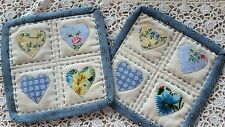 TWO HANDMADE MUG RUG FABRIC HEART QUILT APPLIQUE EMBROIDERY BLUE YELLOW