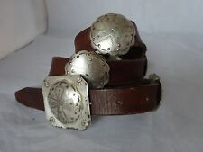 "Vintage 80s  RALPH LAUREN Western CONCHO Silver Medallion BELT Leather 32""-37"""