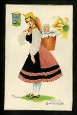Embroidered clothing postcard Artist Elsi Gumier Spain Santander woman baby