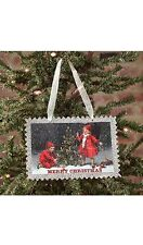"Vintage Postage Stamp Style Christmas Ornament, Children with Tree, 5.5"" x 3.75"""
