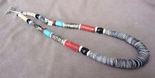 Navajo Heavy Spiny Oyster & Multi-Stone Necklace w/ silver beads &clasp JN0052