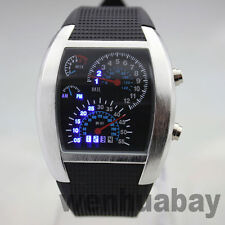 Cool Blue Light LED Watch Rubber Speedometer Digital Dot Matrix Men Gift 86L8892