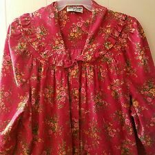 Vintage Coffee Coats Saybury Womens Robe Housecoat Snap Front Red Floral 1x 2x