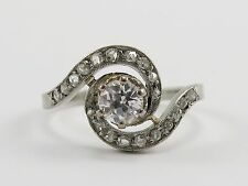 Antique FRENCH DIAMOND 18K WHITE GOLD RING