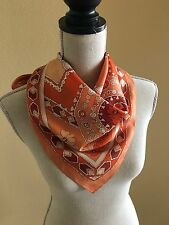 Vintage Orange and White Ornate and Floral Print 26 x 26 Acetate Scarf