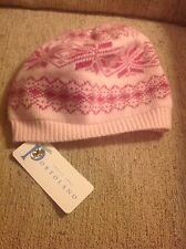 Women's Portolano Winter Beanie Hat Pink Wool Cashmere Synthetic Blend Material