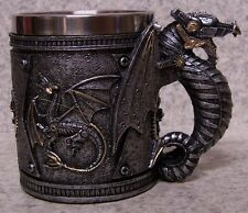 Tankard Goblet Mug Pewter Dragon 12 ounce pour NEW Stainless Steel Insert