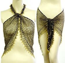 Belly Dance Triangle Beaded Fishnet Fringed Hip Scarf Wrap Belt -- Black/gold