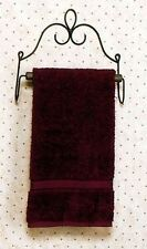 VICTORIAN STYLE HAND TOWEL HOLDER HANGER BLACK METAL~WOOD ROD