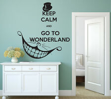 Alice in Wonderland Wall Decal Keep Calm Quote Vinyl Sticker Cheshire Cat FD113