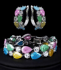 14k White Gold Bracelet Earrings Set made w/ Swarovski Crystal Multicolor Stone