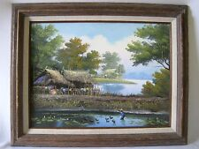 Oil Painting of Thailand Farming Farmer Lotus Countryside Canvas Signed TAWAT