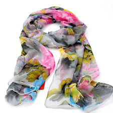 Fashion Spring Georgette Chiffon Long Scarf Painting Colorful Flower Shawl New