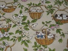 """CATS in the GARDEN"" ByClothworks. 100% Cotton Fabric by the yard.Free Shipping"
