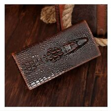 Men's Bifold Crocodile Geunine Leather ID Card Holder Purse Long Wallet Clutch