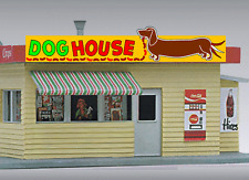 DOG HOUSE HOT DOG ANIMATED NEON SIGN FOR O/HO SCALE-LIGHTS, FLASHES & MORE!!