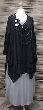LAGENLOOK AMAZING STUNNING QUIRKY 2 POCKETS LONG TUNIC*BLACK*BUST UP TO 48""