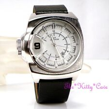 Retro Square Designer Silver Rhodium Plt Black Leather Chunky Date Display Watch